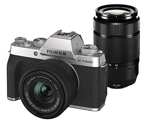 FUJIFILM ミラーレス一眼カメラ X-T200ダブルズームレンズキット シルバー X-T200WZLK-S