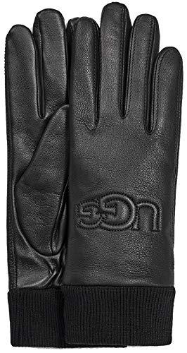 UGG Knit Cuff Leather Handschuhe Damen, Schwarz, L