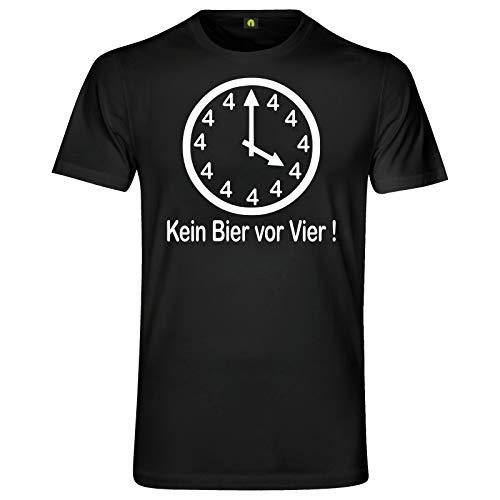 Kein Bier Vor Vier T-Shirt | Alkohol | Saufen | Uhr | Zeiger | 4 | Beer | Weizen Schwarz L