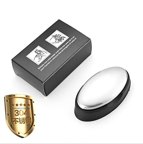 FansQ 2 Stück Neue Deodorantseife aus Edelstahl, neuartiger manueller Deodorantentferner aus Edelstahl mit Bodenschale, Seife aus Edelstahl für die Desodorierung in der Küche