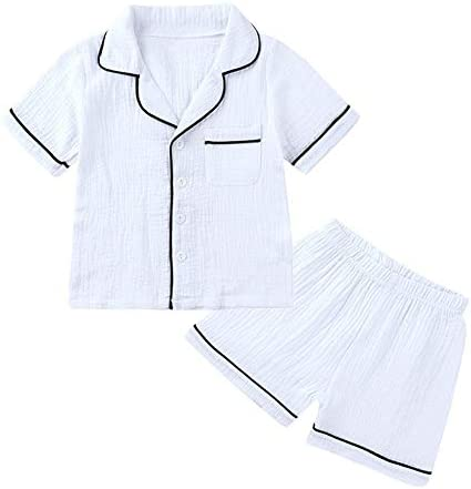 Kids Short Sleeve Pajamas Summer Lounge Set 2 Piece Big Girls Button Down Sleepwear Children product image