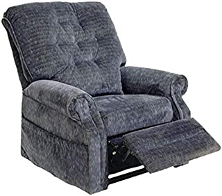 Catnapper 4824 Power Lift Recliner Lay-Out Chair - Soft and Durable Polyester Fabric - Elegant Button Back Design (Slate Blue) - Weight Capacity 350 lb. with in-Home Delivery and Setup