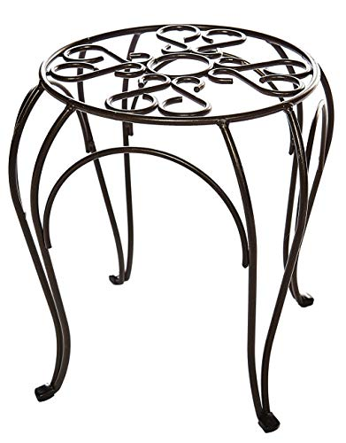 Ruddings Wood 38cm High Scrolled Metal Tall Raised Plant Pot Stand Garden Patio Flower Container Display Holder Rack Shelf