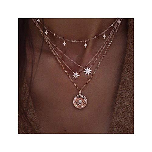 Edary Boho gelaagde Tassel Star Hanger Ketting Goud Multilayer Ketting Choker Ronde Ketting Sieraden Verstelbaar voor Vrouwen en Meisjes