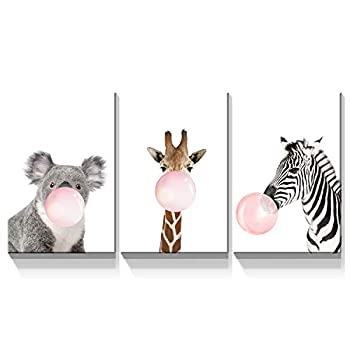 Denozer - 3 Panels Canvas Wall Art - Giraffe Zebra Koala Pink Bubble Gum Animals Modern Home Artwork for Nursery Decor Art Stretched and Framed Gallery Wrapped Ready to Hang - 12 x18 x3 Panels