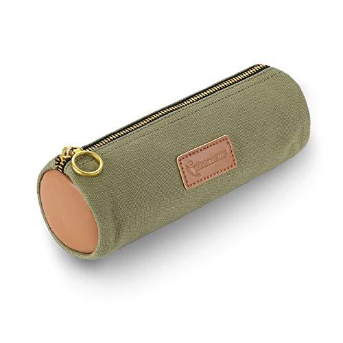 iDream365 Canvas Simple Pencil Case Bag Pouch,Durable with Brass Zipper,Match Color Design-Green