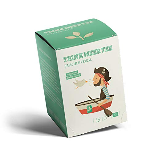 Trink Meer Tee FRISCHER FRIESE - Bio-Kräutertee   hocharomatisch   Bio Pfefferminztee   Biotee in handgenähten Teebeuteln I 15 x 1,5g = 22,5g