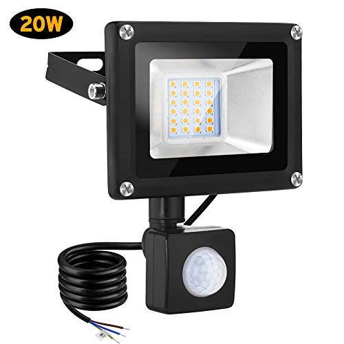 20W Foco LED con Sensor de Movimiento, 2000LM Led Spotlight Para Exterior, 3000K Blanco cálido flood light luz, IP66 impermeable foco proyector led for Jardín, garaje o deportes Espacio