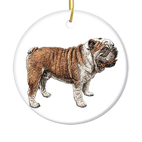 MAK060KFT Christmas Tree Ornament,Concept of a Side Profile Dog Sketchy Pet Lover Design English Breed Ceramic Ornament,Holiday Ornament Friends Gift,Ceramic Holiday Decoration,2.8in