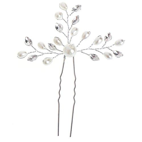 Niumanery Wedding Bridal Faux Pearl Rhinestone Hair Pins Clip Bride Headpiece Side Combs