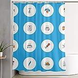 Nongmei Duschvorhang,farbige Linie mit Tauben-Champagner-Origami & Anderen Sonnenschirmelementen,waschbarer Badvorhang aus Polyestergewebe mit 12 Kunststoffhaken 180x180 cm