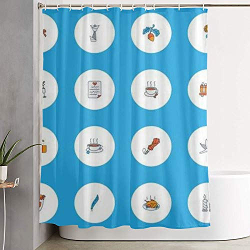 Shower curtain,celebration icons colored line set with dove champagne origami and other parasol elements,bathroom curtain washable bathroom curtain polyester fabric with 12 plastic hooks 180x180cm