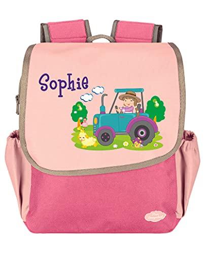 Mein Zwergenland Kindergartenrucksack Happy Knirps Next mit Name Traktor Bauernhof, 6L, Pink