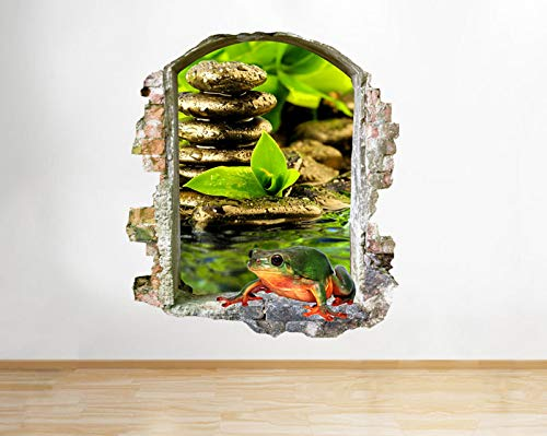 Q076w kikker vijver natuur woonkamer hal raam wandtattoo 3D kunst sticker vinyl RoomLarge