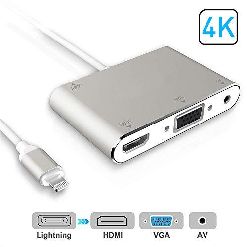 Adaptador HDMI VGA AV convertidor, 2019 última versión 4 en 1 Plug and Play Digtal AV Adaptador para iPhone X, 8, 8 Plus, 7, 7 Plus, 6, 6S, 6S Plus, 5, 5S, iPad, iPod a proyector HDTV (Silver)