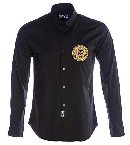 Versace Jeans Couture Slim Fit Embroidered Head Poplin Shirt MEDIUM Black Gold