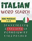 Italian Word Search | 200 puzzles Italiano A to Z (Vol.1): Learn Italian Vocabulary