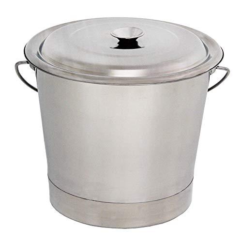 Beeketal 'BEE-13' Edelstahl Eimer mit 14,5 Liter Gesamtvolumen, poliert aus rostfreiem Edelstahl mit Griff inkl. Deckel, Abmessungen: Höhe 255 mm, Durchmesser oben ca. 310 mm, unten ca. 290 mm