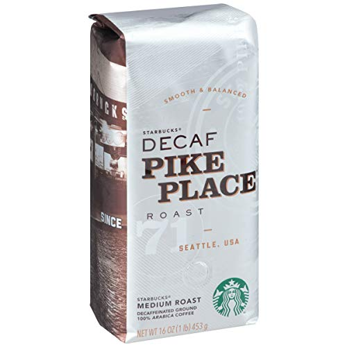 Starbucks Decaf Pike Place Roast Ground Coffee, Decaf Pike Place, 16 oz, Pack of 6