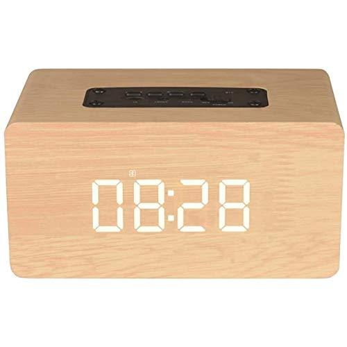 SONG Despertador Digital Radio Pantalla Despertador de Madera con Voz HD Llamada con Repetición,Yellow