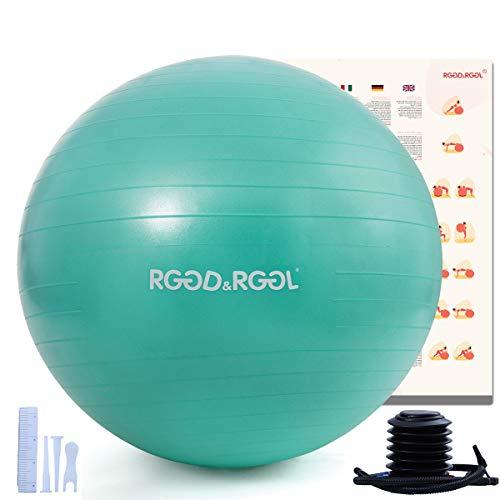 RGGD & RGGL - Pelota de yoga, para oficina, hogar, fitness, embarazo, pilates, yoga, resistente a desgarros y extra gruesa, material resistente, válvula de inflado, extrafuerte (55-85 cm)