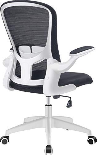 FelixKing オフィスチェア 椅子 デスクチェア 事務椅子 昇降機能付き 調節可能アームレスト 腰サポー 通気性抜群 厚手 座面 360度回転 コンパクト パソコンチェア 男女兼用 (White)