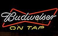 QUEEN SENSE Budweisers On Tap ボウタイ ネオンサイン (様々なサイズ) ビール バー パブ マン ケーブ ハンドメイド ガラス ランプ ライト DB461 20 Inches マルチカラー