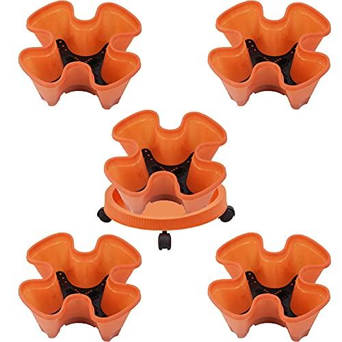 Fioriera impilabile a forma di torre di fiori multistrato, vaso verticale a quattro petali con 1 vassoio a 5 ruote per fragole, ortaggi, balcone, colore: arancione