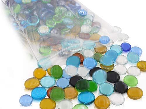 ASARAH Glasnuggets Dekosteine Mosaiksteine, Nuggets ca. 18-20 mm bunt Mix-Set, ca. 230 Steine