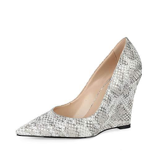 RHSMY Tacones altos para mujer, tacón de pendiente puntiagudo sexy para mujer, (deslizante/plateado) Asakuchi zapatos individuales para primavera/verano, 10 cm (40 EU, plateado)