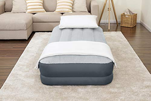 SleepLux Twin Air Mattress Supersoft Snugable Top Extra Durable Tough Guard with Built-in Pillow Raised 15  Airbed with Built in Pump + USB Charger Twin 15