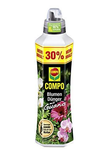 COMPO Blumendünger mit Guano für alle Zimmer-, Balkon- und Terrassenpflanzen, Universaldünger, 1,3 Liter