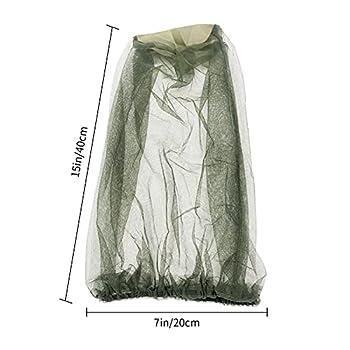 MOJOO 4 pièces Chapeau Anti Moustique Filet de Tête de Moustique Filet de Chapeau de Pêche pour L'apiculture en Plein Air Pêche Camping Activités De Plein Air (Noir, Vert)