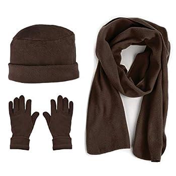 Women s Warm Polyester Fleece Winter Set Fur Trim - Glove Hat and Scarf Set for Women - One Size  Brown 50
