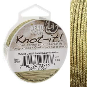 BeadSmith Chinese Knotting Cord Thread 1 mm 6 Meter Metalic Gold Color for Art Jewelry Beading Kumihimo Craft Sewing -  Bead Smith, M1-146