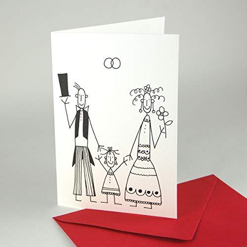witzige Einladungskarten zur Hochzeit mit Kind/Traufe: Brautpaar mit Mädchen, 10 Klappkarten auf hochwertigem geripptem Karton inkl. roten Umschlägen