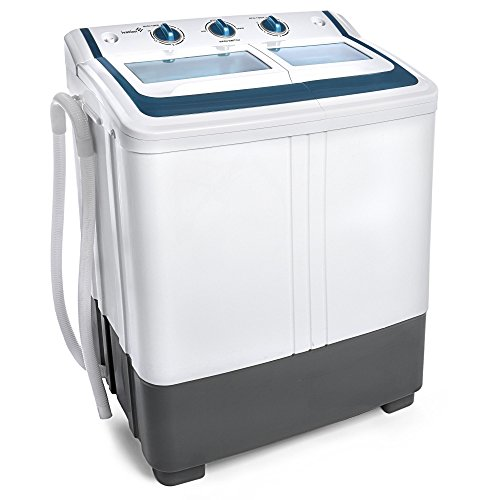 Ivation Small Compact Portable Washing Machine – Twin Tub Washer & Spin with 12.12 Lb. Wash Capacity & 7.7 Lb. Spin Capacity – Includes Drainage Pump & Tube – Ideal for Dorm Rooms, RV & More