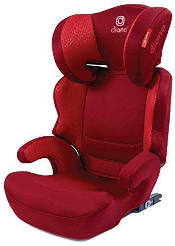Diono Everett NXT Ridged Latch, Belt Positioning Booster Seat, Slim Fit Design and Light Weight, Red