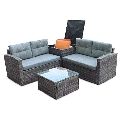 Furniture 4-Piece Rattan Fabric Sofa Set Couch Steel Frame Living Room Balcony Garden Cushion Outdoor household products (Color : Gray)