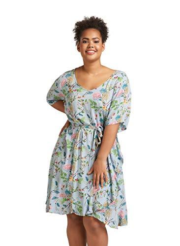Zizzi Damen Sommerkleid Knielang Kurzarm V-Ausschnitt Kleid Große Größen 42-56