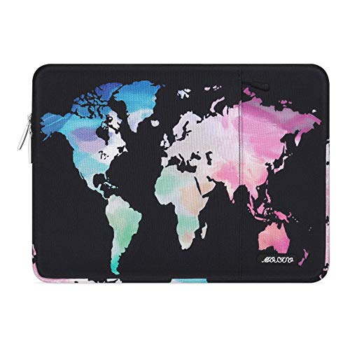 MOSISO Laptop Sleeve Case Compatible with 13-13.3 inch MacBook Pro, MacBook Air, Notebook Computer, Polyester Vertical World Map Bag Cover with Pocket