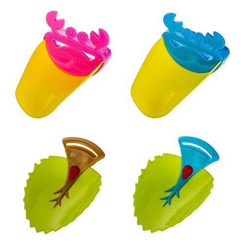 Yemiany Extensor de manija de fregadero de 4 piezas con forma de hoja y diseño de forma de cangrejo Extensor de grifo de agua para niños pequeños Guía de lavado de manos(colorido)