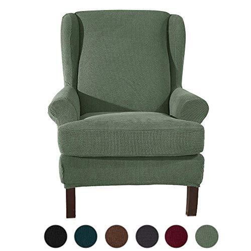 ele ELEOPTION Ohrensessel Husse,Elastisch Sofabezug Sesselbezug,Jacquard Sofaüberwurf Stretch Husse für Ohrensessel Wing Chair (Grün)