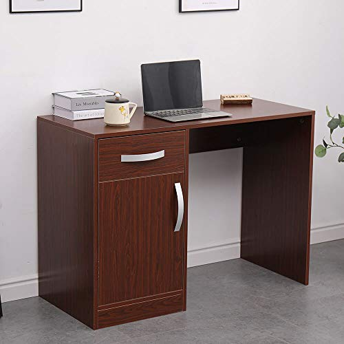 Home Source Computer Desk PC Laptop Table Home Office Workstation Gaming, MDF, Walnut, 1 Drawer