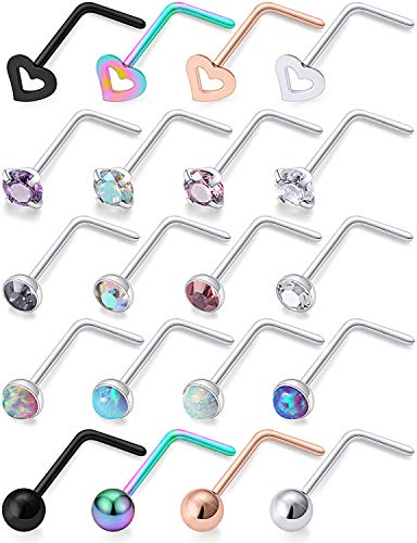 Hoeudjo 18G Opal Nose Rings Surgical Steel Nose Ring Studs L Shaped Heart CZ Inlaid Piercing Jewelry for Women Men Girls 20 Pieces Silver-tone Black Rose Gold 1.5mm