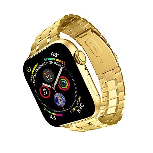 ARTCHE Correa de reloj para Apple Watch iWatch, versión actualizada, pulsera de eslabones de repuesto de acero inoxidable, compatible con Apple Watch Series 5, 4, 3, 2, 1 (44 mm, 42 mm), color dorado