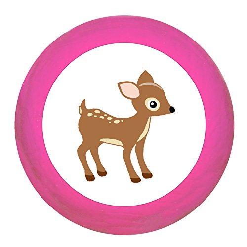 Schrankgriff Reh pink Holz Kinder Kinderzimmer 1 Stück Waldtiere