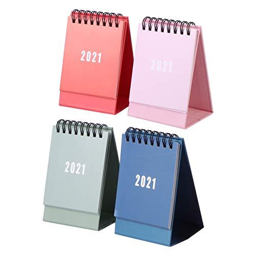 Tomaibaby 2021 Mini Calendario de Escritorio Stand up Escritorio Año Calendario Organizador Mini Calendario Flip Planificador Diario Páginas Mensuales (4 Colores)