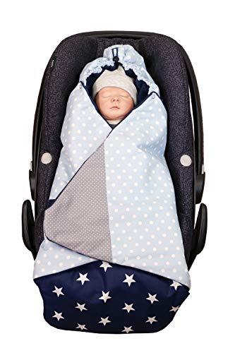 ULLENBOOM ® Baby Einschlagdecke Sommer Blau Hellblau Grau (Made in EU) - Decke für Babyschale & Kinderwagen, kompatibel mit Maxi Cosi ® Autositz, ideal für 0 bis 9 Monate