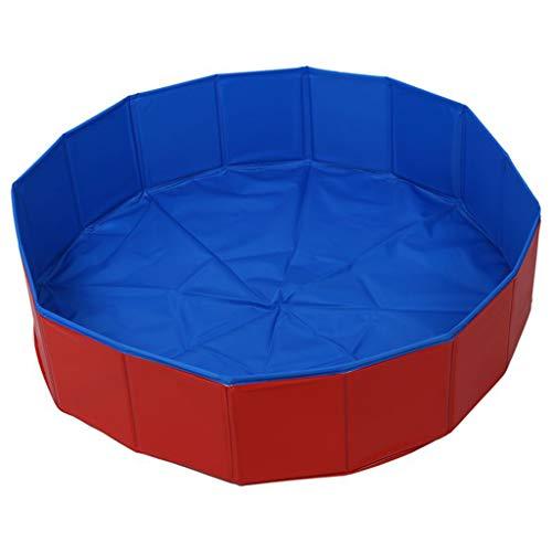 PVC-faltbares Hunde Pool, Folding Hund/Katze Badewanne, Schwimmen Sommer House Pool, zusammenklappbarer Pet Spa, Außenpool Spielen Teich, Blau + Rot